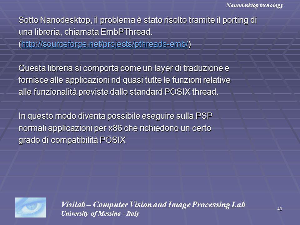 45 Sotto Nanodesktop, il problema è stato risolto tramite il porting di una libreria, chiamata EmbPThread. (http://sourceforge.net/projects/pthreads-e