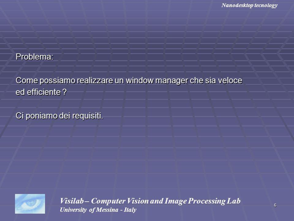 6 Problema: Come possiamo realizzare un window manager che sia veloce ed efficiente ? Ci poniamo dei requisiti. Visilab – Computer Vision and Image Pr