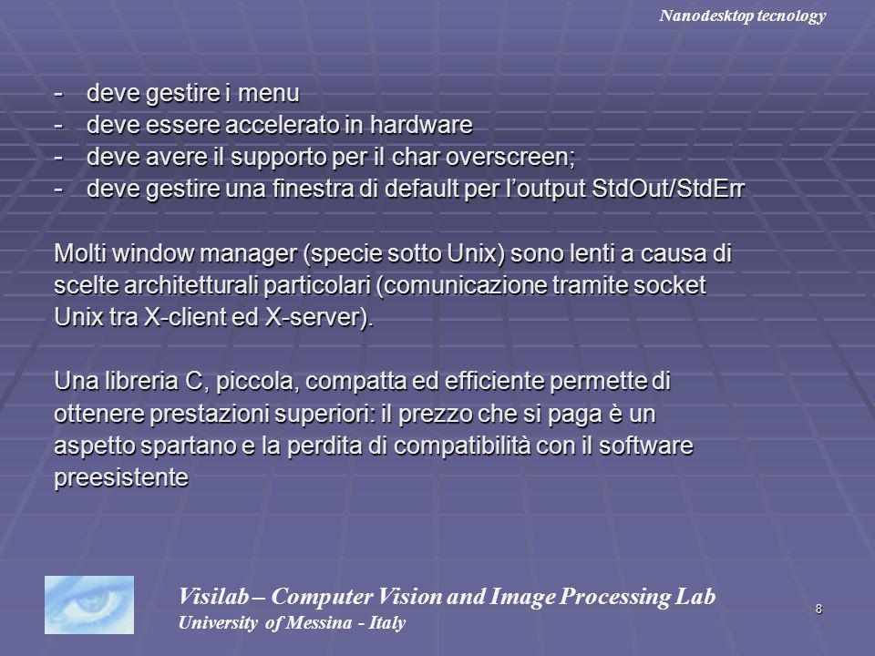 8 - deve gestire i menu - deve essere accelerato in hardware - deve avere il supporto per il char overscreen; - deve gestire una finestra di default p