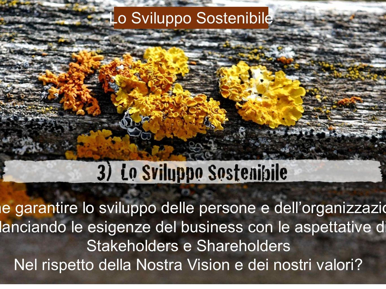 Come garantire lo sviluppo delle persone e dellorganizzazione Bilanciando le esigenze del business con le aspettative di Stakeholders e Shareholders Nel rispetto della Nostra Vision e dei nostri valori.
