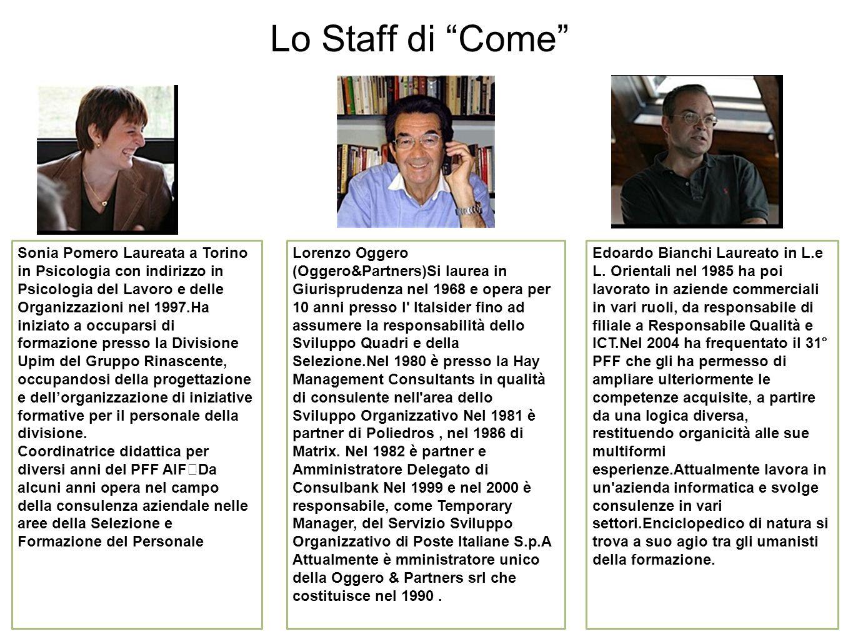 Lo Staff di Come Sonia Pomero Laureata a Torino in Psicologia con indirizzo in Psicologia del Lavoro e delle Organizzazioni nel 1997.Ha iniziato a occuparsi di formazione presso la Divisione Upim del Gruppo Rinascente, occupandosi della progettazione e dellorganizzazione di iniziative formative per il personale della divisione.