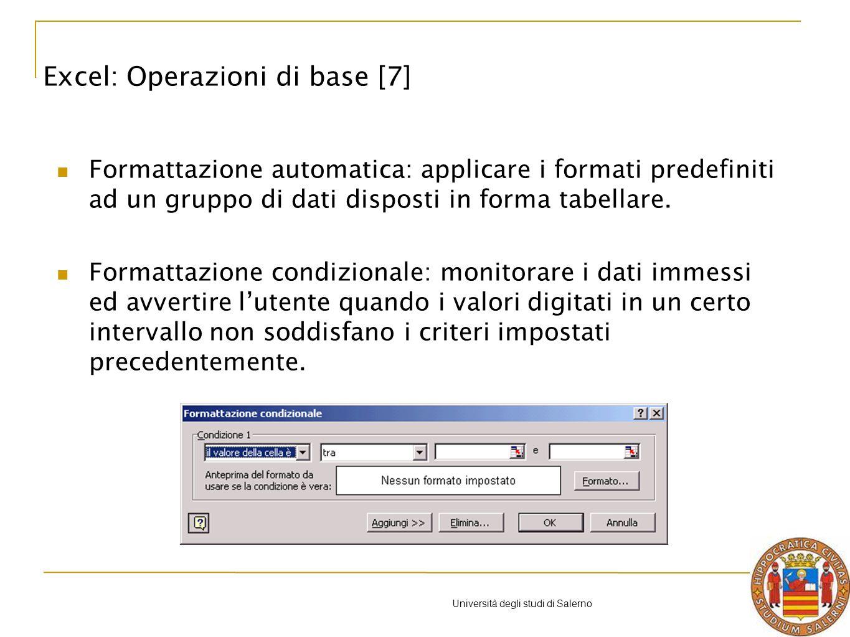 Università degli studi di Salerno Formattazione automatica: applicare i formati predefiniti ad un gruppo di dati disposti in forma tabellare.