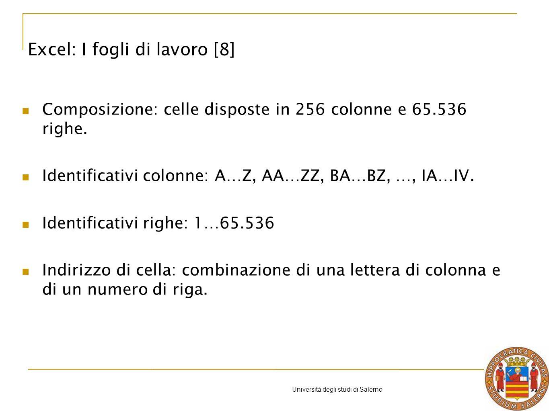 Università degli studi di Salerno Composizione: celle disposte in 256 colonne e 65.536 righe.