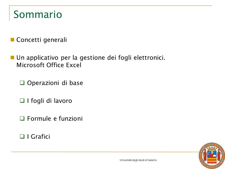 Università degli studi di Salerno Sommario Concetti generali Un applicativo per la gestione dei fogli elettronici.