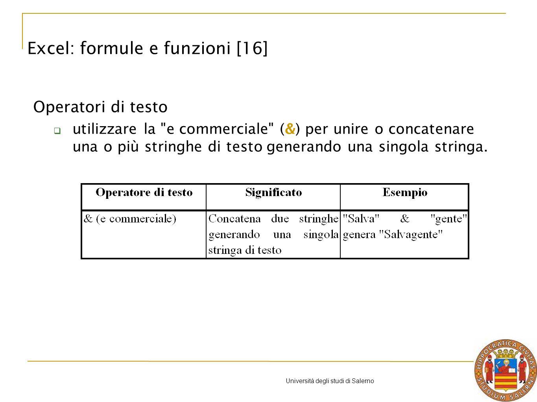 Università degli studi di Salerno Operatori di testo utilizzare la e commerciale (&) per unire o concatenare una o più stringhe di testo generando una singola stringa.