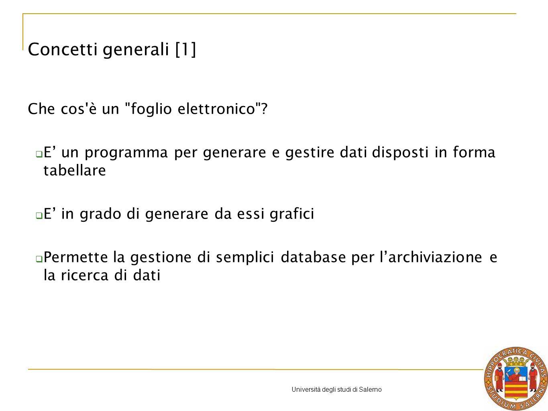 Università degli studi di Salerno Funzioni con condizione - Esempio 2: CONTA.SE La funzione CONTA.SE (intervallo; criteri) somma il numero di celle in un intervallo che soddisfano un criterio Intervallo è lintervallo di celle che si desidera calcolare criteri sono i criteri (numeri o espressioni di testo) che determinano le celle che verranno sommate Esempio CONTA.SE (B2:B6; A9) Excel: formule e funzioni [20]