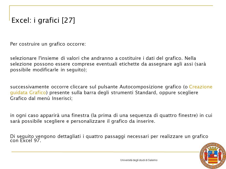 Università degli studi di Salerno Per costruire un grafico occorre: selezionare l insieme di valori che andranno a costituire i dati del grafico.