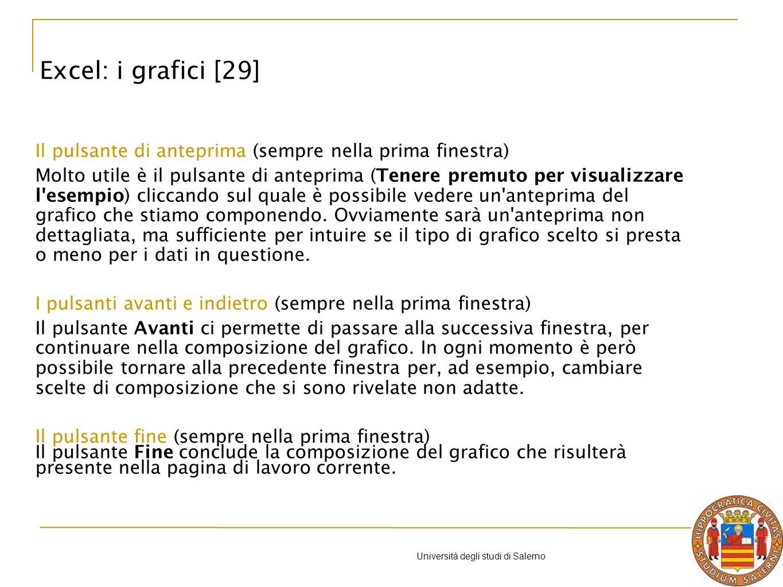 Università degli studi di Salerno Il pulsante di anteprima (sempre nella prima finestra) Molto utile è il pulsante di anteprima (Tenere premuto per visualizzare l esempio) cliccando sul quale è possibile vedere un anteprima del grafico che stiamo componendo.