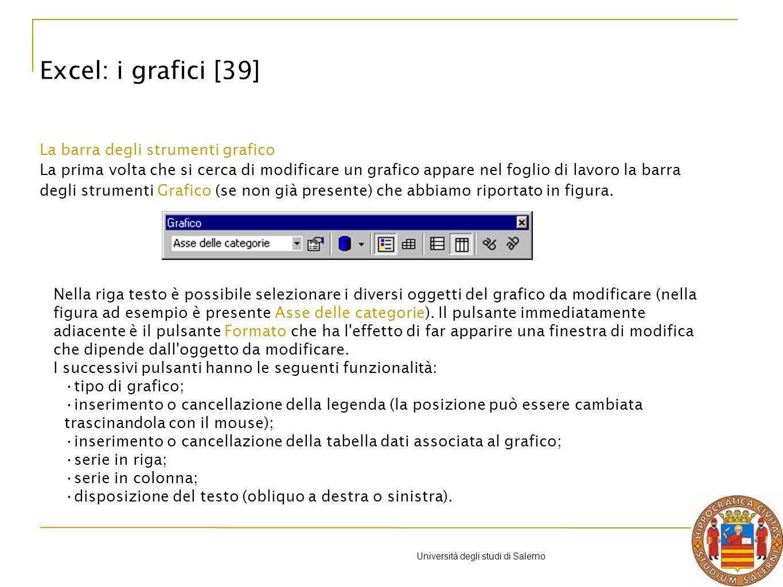 Università degli studi di Salerno La barra degli strumenti grafico La prima volta che si cerca di modificare un grafico appare nel foglio di lavoro la barra degli strumenti Grafico (se non già presente) che abbiamo riportato in figura.