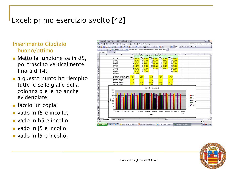 Università degli studi di Salerno Excel: primo esercizio svolto [42] Inserimento Giudizio buono/ottimo Metto la funzione se in d5, poi trascino verticalmente fino a d 14; a questo punto ho riempito tutte le celle gialle della colonna d e le ho anche evidenziate; faccio un copia; vado in f5 e incollo; vado in h5 e incollo; vado in j5 e incollo; vado in l5 e incollo.
