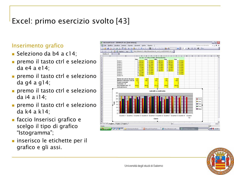 Università degli studi di Salerno Excel: primo esercizio svolto [43] Inserimento grafico Seleziono da b4 a c14; premo il tasto ctrl e seleziono da e4 a e14; premo il tasto ctrl e seleziono da g4 a g14; premo il tasto ctrl e seleziono da i4 a i14; premo il tasto ctrl e seleziono da k4 a k14; faccio Inserisci grafico e scelgo il tipo di grafico Istogramma; inserisco le etichette per il grafico e gli assi.