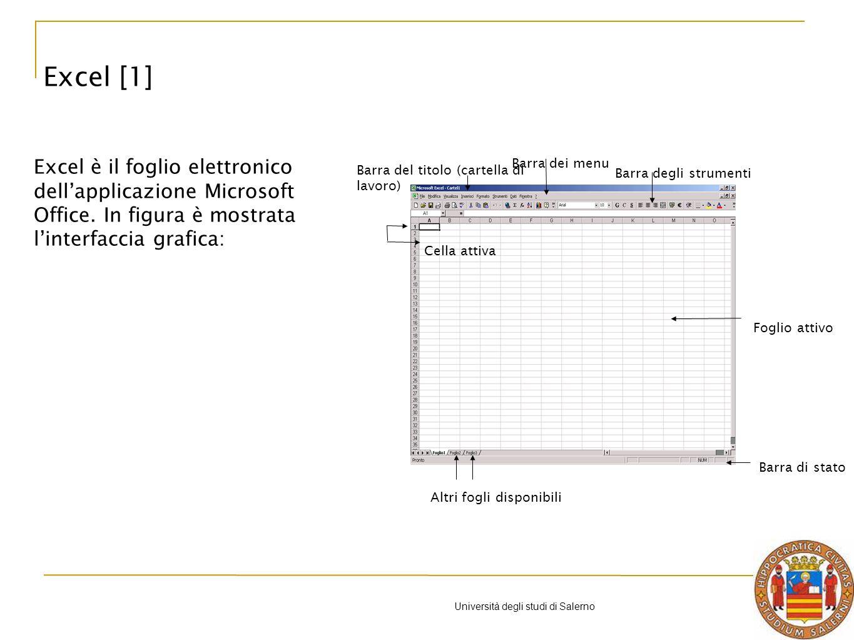 Università degli studi di Salerno Esempio Ecco il risultato: media dei voti per sesso B9/C9 => 50/2 = 25 Excel: formule e funzioni [22]
