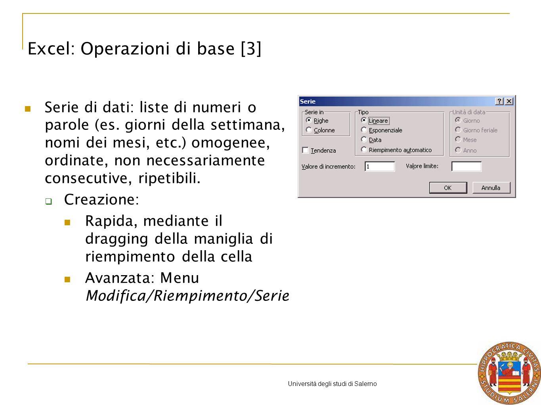 Università degli studi di Salerno Creare un foglio elettronico in Excel che, dati peso e altezza, determina il Body Mass Index di una persona e la classe di riferimento cui tale BMI appartiene.