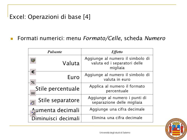 Università degli studi di Salerno La scheda serie Dalla scheda Serie è possibile scegliere: le etichette da associare a ciascuna serie; gli intervalli di selezione per i valori di ciascuna serie; l etichetta da associare all asse orizzontale delle categorie.