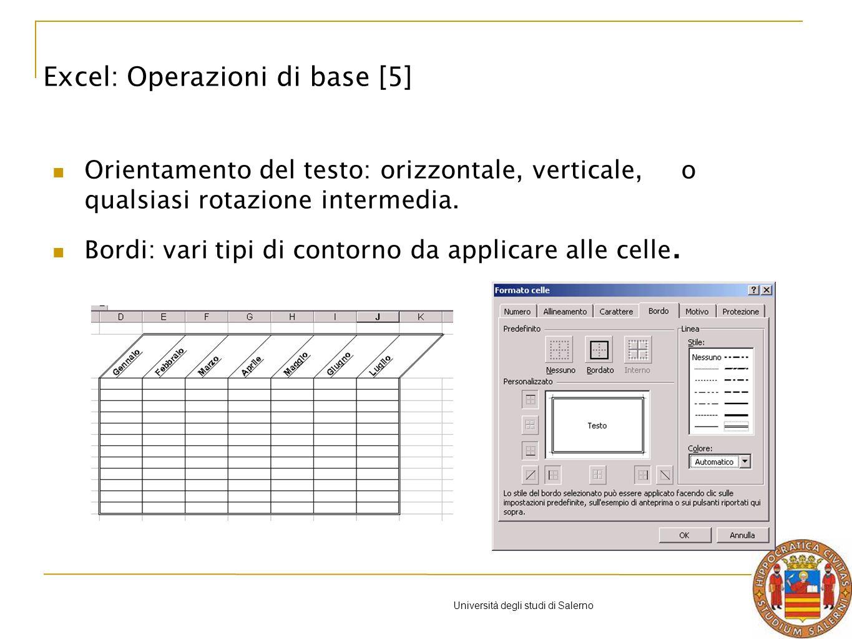Università degli studi di Salerno I grafici ad area servono ad evidenziare lentità delle variazioni del tempo; anche questo caso abbiamo vari tipi di grafici ad area, in 2D e in 3D, lunica cosa da fare è quella di scegliere.