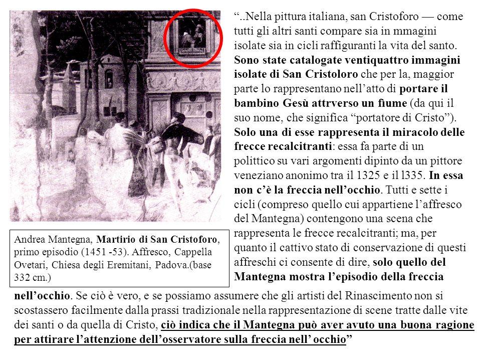 Andrea Mantegna, Martirio di San Cristoforo, primo episodio (1451 -53). Affresco, Cappella Ovetari, Chiesa degli Eremitani, Padova.(base 332 cm.)..Nel