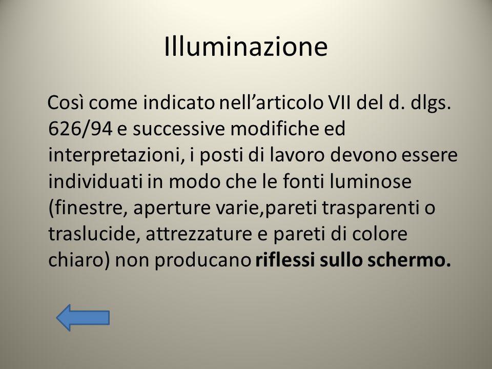 Illuminazione Così come indicato nellarticolo VII del d. dlgs. 626/94 e successive modifiche ed interpretazioni, i posti di lavoro devono essere indiv