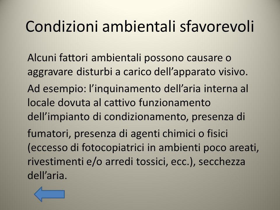 Condizioni ambientali sfavorevoli Alcuni fattori ambientali possono causare o aggravare disturbi a carico dellapparato visivo. Ad esempio: linquinamen