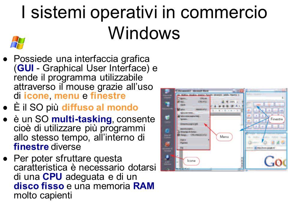 I sistemi operativi in commercio Unix è un SO per computer molto potenti di tipo mini e mainframe Windows, Linux e MacOS vengono invece installati su
