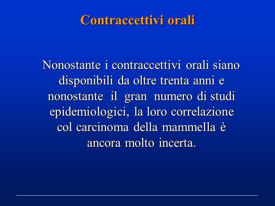 Contraccettivi orali Nonostante i contraccettivi orali siano disponibili da oltre trenta anni e nonostante il gran numero di studi epidemiologici, la