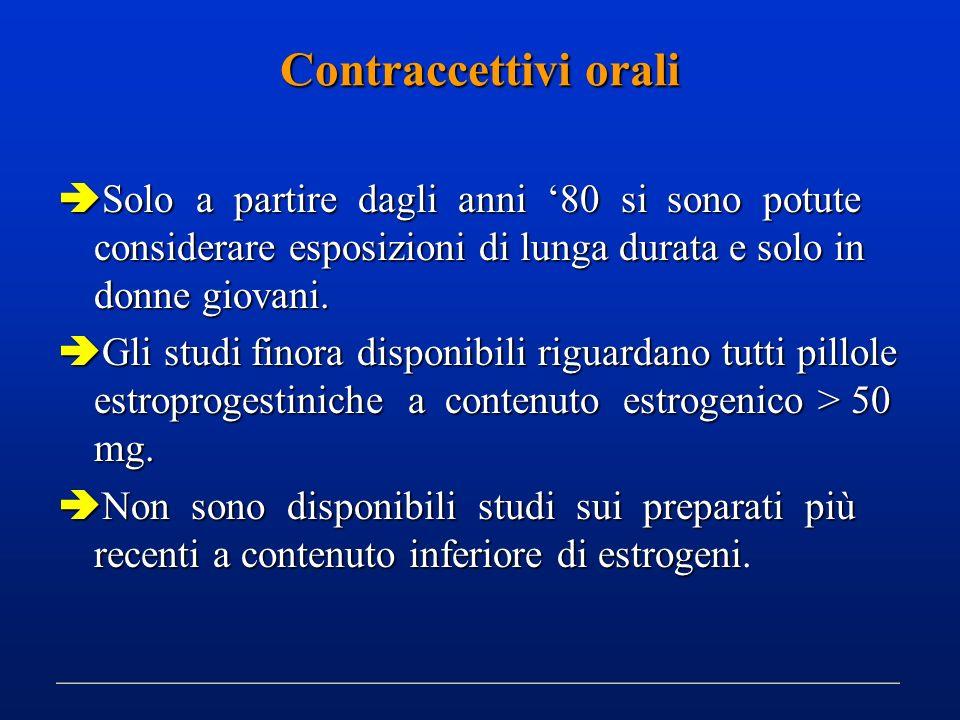 Contraccettivi orali Solo a partire dagli anni 80 si sono potute considerare esposizioni di lunga durata e solo in donne giovani. Solo a partire dagli