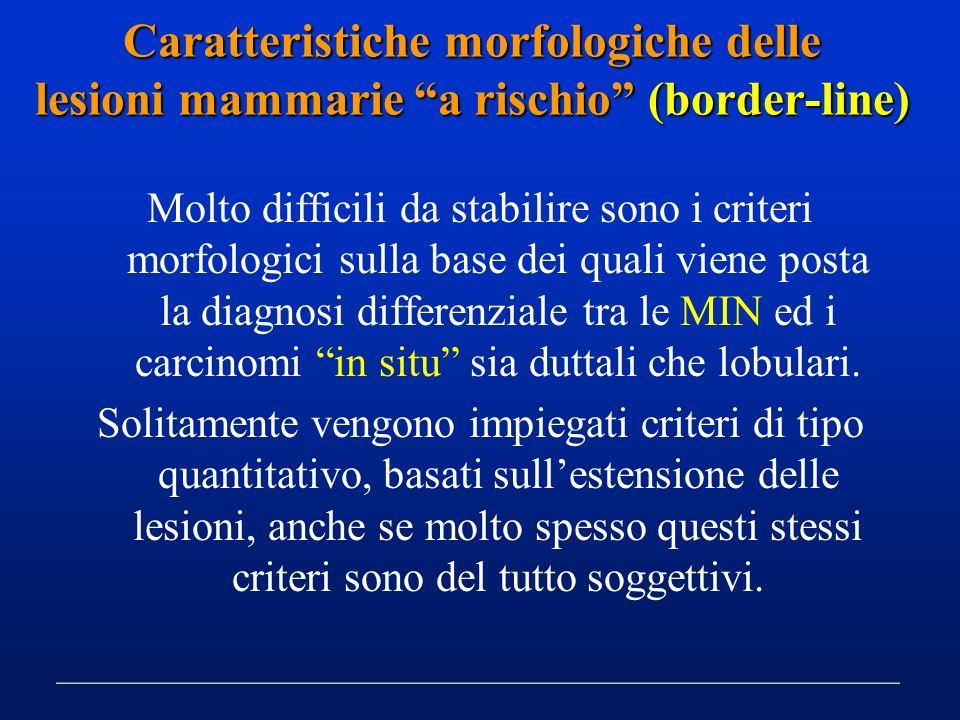 Molto difficili da stabilire sono i criteri morfologici sulla base dei quali viene posta la diagnosi differenziale tra le MIN ed i carcinomi in situ s