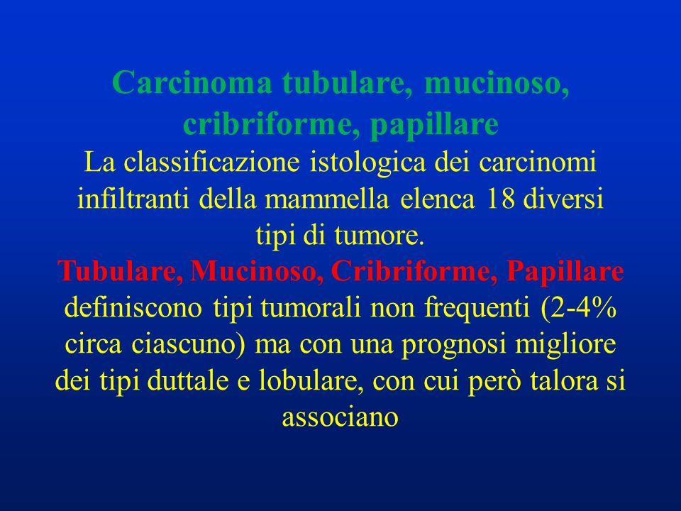 Carcinoma tubulare, mucinoso, cribriforme, papillare La classificazione istologica dei carcinomi infiltranti della mammella elenca 18 diversi tipi di