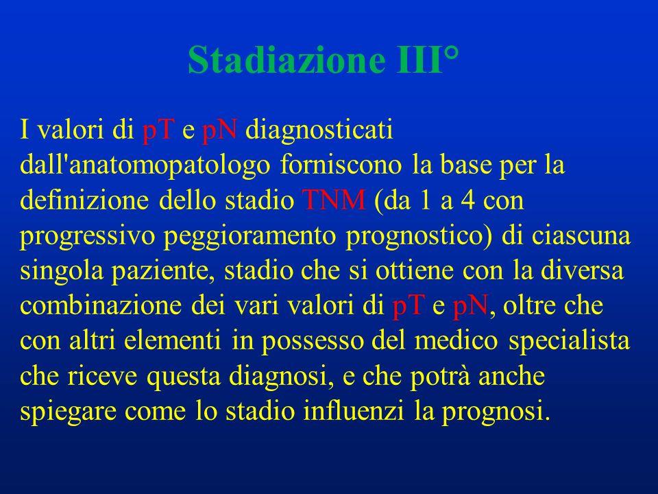 Stadiazione III° I valori di pT e pN diagnosticati dall'anatomopatologo forniscono la base per la definizione dello stadio TNM (da 1 a 4 con progressi