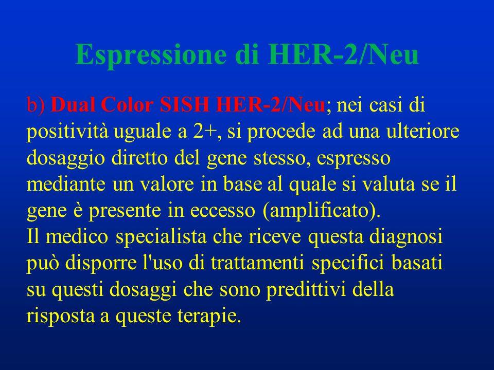 Espressione di HER-2/Neu b) Dual Color SISH HER-2/Neu; nei casi di positività uguale a 2+, si procede ad una ulteriore dosaggio diretto del gene stess