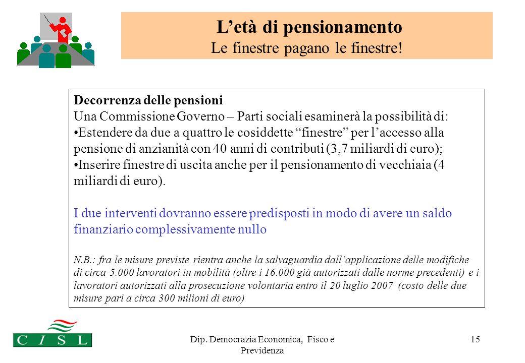 Dip. Democrazia Economica, Fisco e Previdenza 15 Decorrenza delle pensioni Una Commissione Governo – Parti sociali esaminerà la possibilità di: Estend
