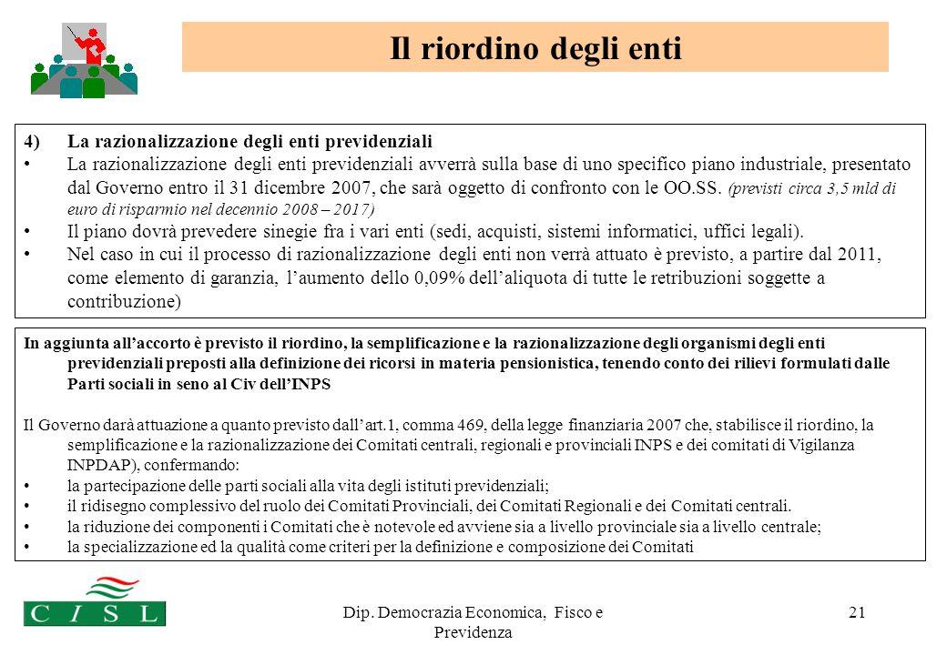 Dip. Democrazia Economica, Fisco e Previdenza 21 In aggiunta allaccorto è previsto il riordino, la semplificazione e la razionalizzazione degli organi