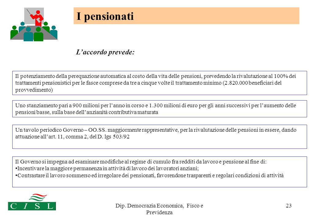 Dip. Democrazia Economica, Fisco e Previdenza 23 I pensionati Il Governo si impegna ad esaminare modifiche al regime di cumulo fra redditi da lavoro e