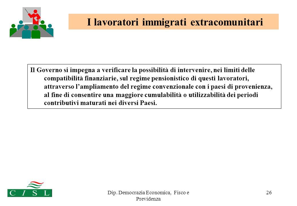Dip. Democrazia Economica, Fisco e Previdenza 26 I lavoratori immigrati extracomunitari Il Governo si impegna a verificare la possibilità di interveni