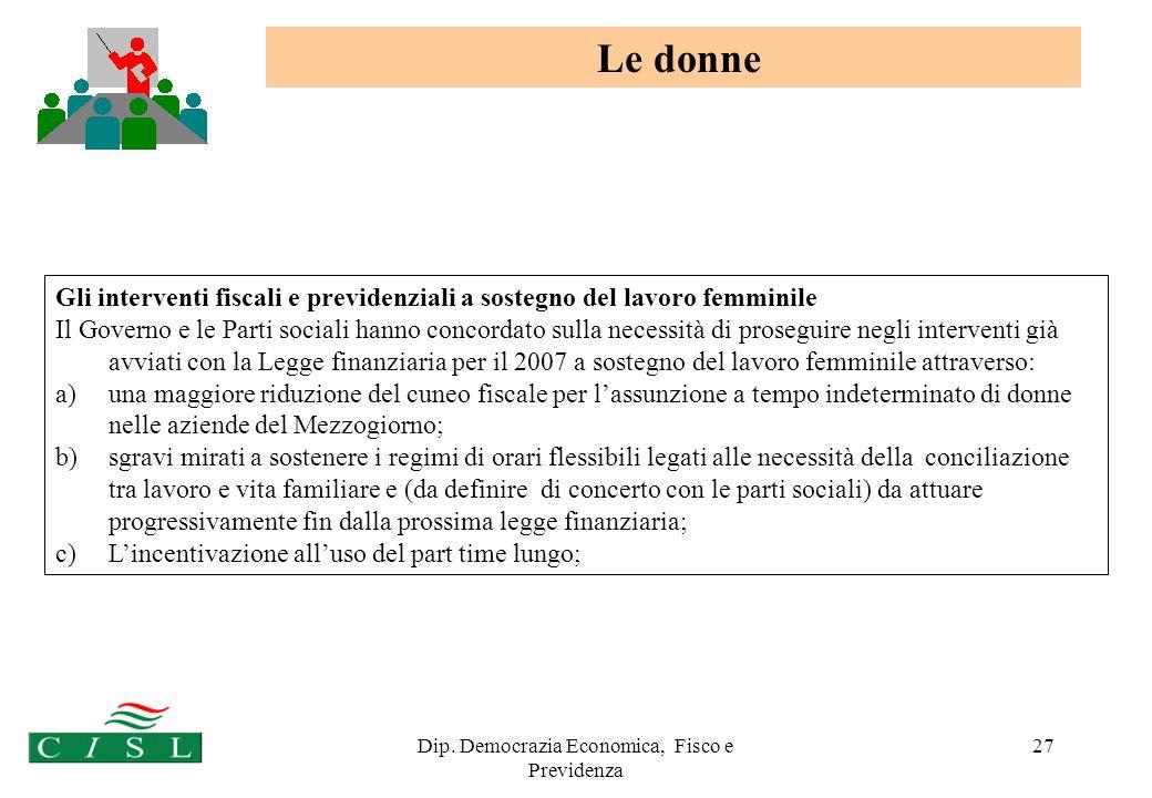 Dip. Democrazia Economica, Fisco e Previdenza 27 Gli interventi fiscali e previdenziali a sostegno del lavoro femminile Il Governo e le Parti sociali