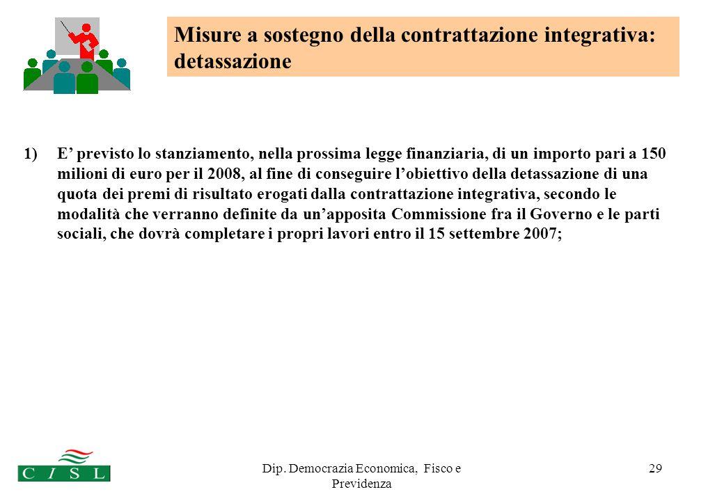 Dip. Democrazia Economica, Fisco e Previdenza 29 1)E previsto lo stanziamento, nella prossima legge finanziaria, di un importo pari a 150 milioni di e
