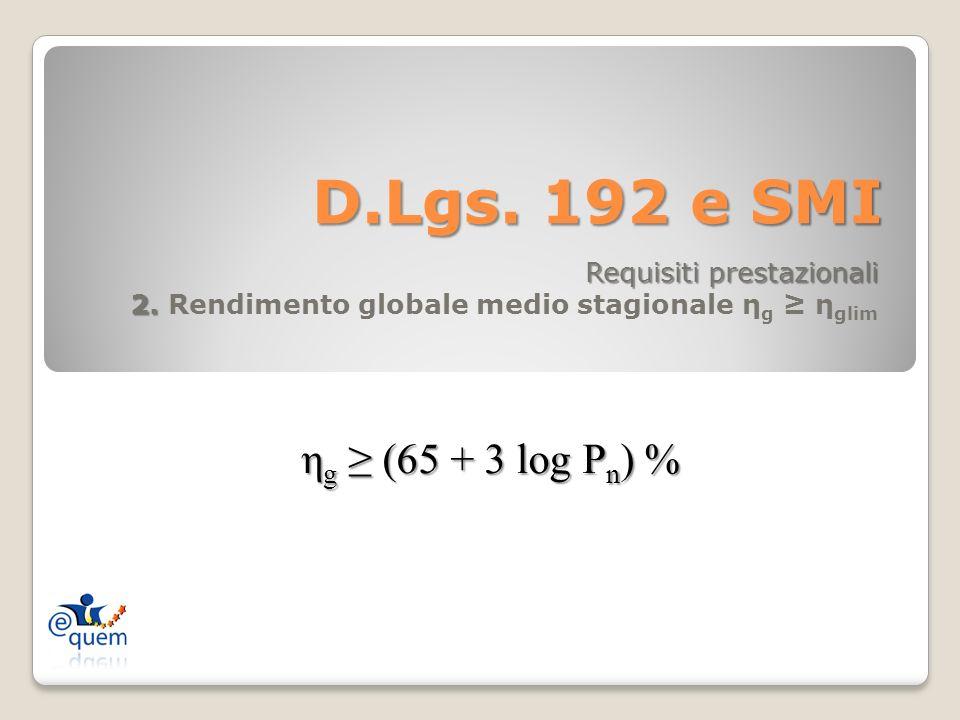D.Lgs. 192 e SMI Requisiti prestazionali 2. 2. Rendimento globale medio stagionale η g η glim η g (65 + 3 log P n ) %