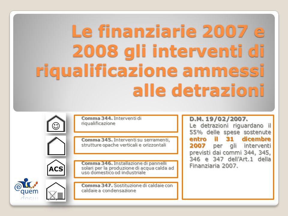 Le finanziarie 2007 e 2008 gli interventi di riqualificazione ammessi alle detrazioni Comma 344. Interventi di riqualificazione Comma 345. Interventi