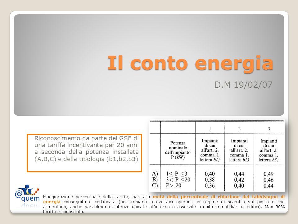 Il conto energia D.M 19/02/07 Riconoscimento da parte del GSE di una tariffa incentivante per 20 anni a seconda della potenza installata (A,B,C) e della tipologia (b1,b2,b3) Maggiorazione percentuale della tariffa, pari alla metà della percentuale di riduzione del fabbisogno di energia conseguita e certificata (per impianti fotovoltaici operanti in regime di scambio sul posto e che alimentano, anche parzialmente, utenze ubicate allinterno o asservite a unità immobiliari di edifici).