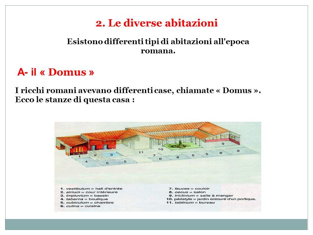 2. Le diverse abitazioni Esistono differenti tipi di abitazioni all'epoca romana. A- il « Domus » I ricchi romani avevano differenti case, chiamate «