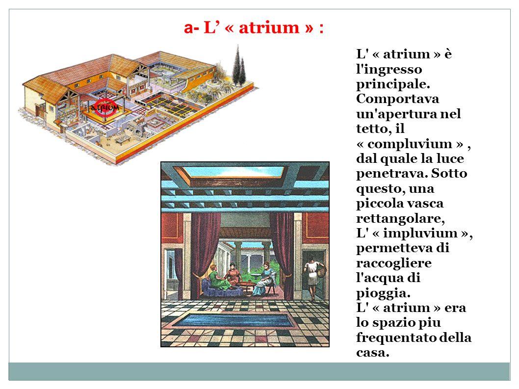 a- L « atrium » : L' « atrium » è l'ingresso principale. Comportava un'apertura nel tetto, il « compluvium », dal quale la luce penetrava. Sotto quest