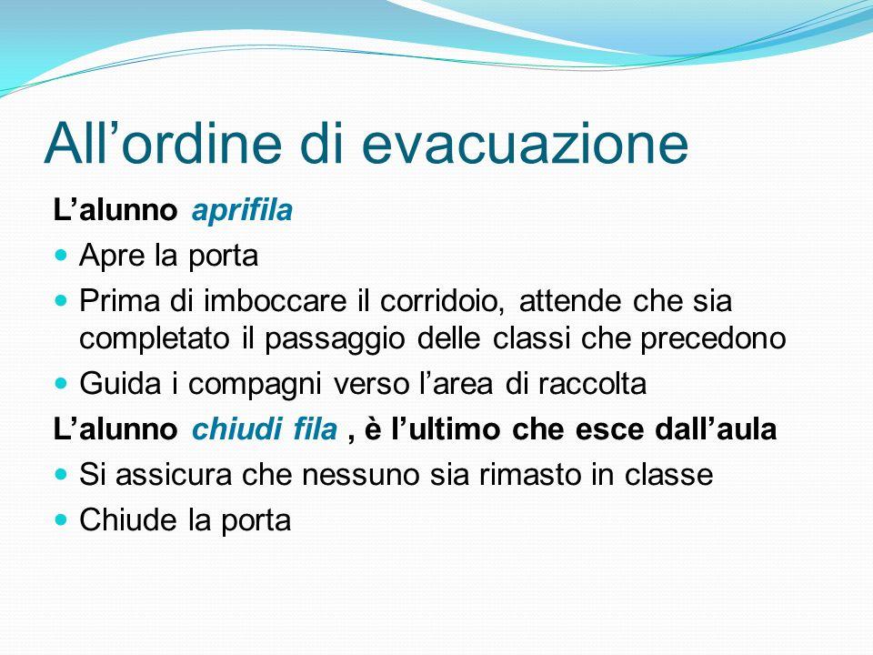 Il segnale di evacuazione Il suono continuo della campanella segnala la necessità di procedere allevacuazione generale. Il suono intermittente ad inte
