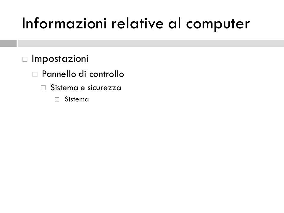Informazioni relative al computer Impostazioni Pannello di controllo Sistema e sicurezza Sistema
