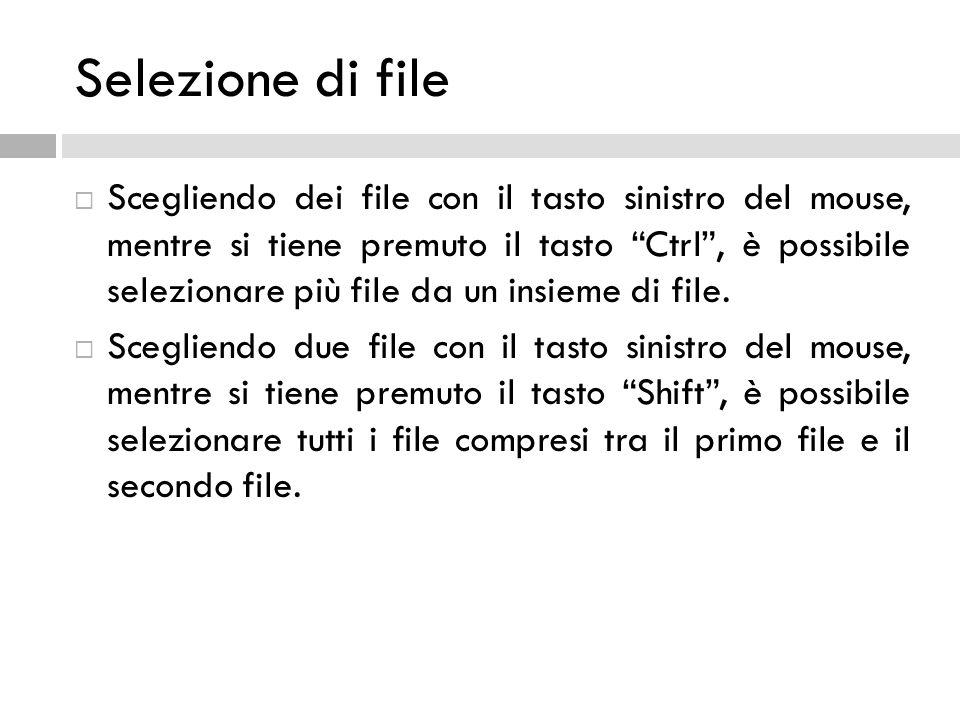 Selezione di file Scegliendo dei file con il tasto sinistro del mouse, mentre si tiene premuto il tasto Ctrl, è possibile selezionare più file da un i