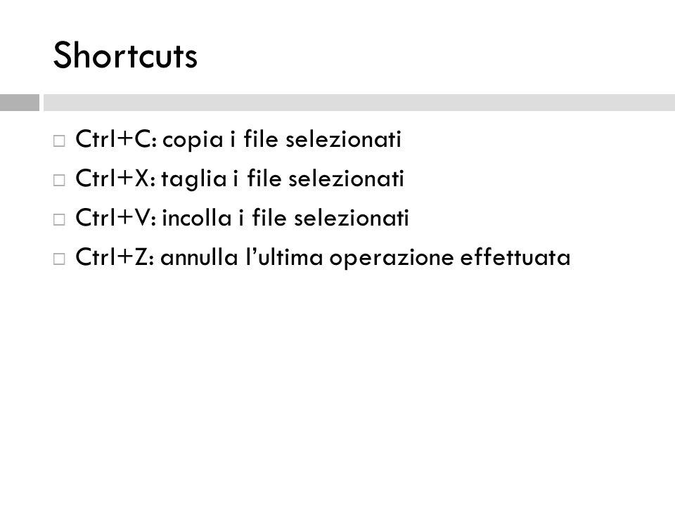 Shortcuts Ctrl+C: copia i file selezionati Ctrl+X: taglia i file selezionati Ctrl+V: incolla i file selezionati Ctrl+Z: annulla lultima operazione eff
