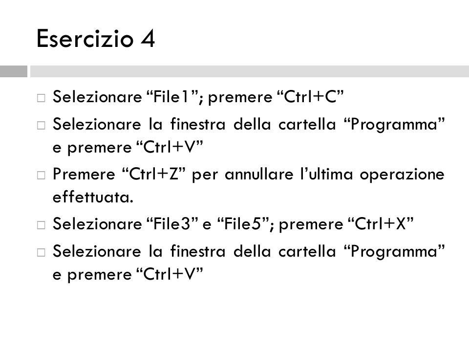 Esercizio 4 Selezionare File1; premere Ctrl+C Selezionare la finestra della cartella Programma e premere Ctrl+V Premere Ctrl+Z per annullare lultima o