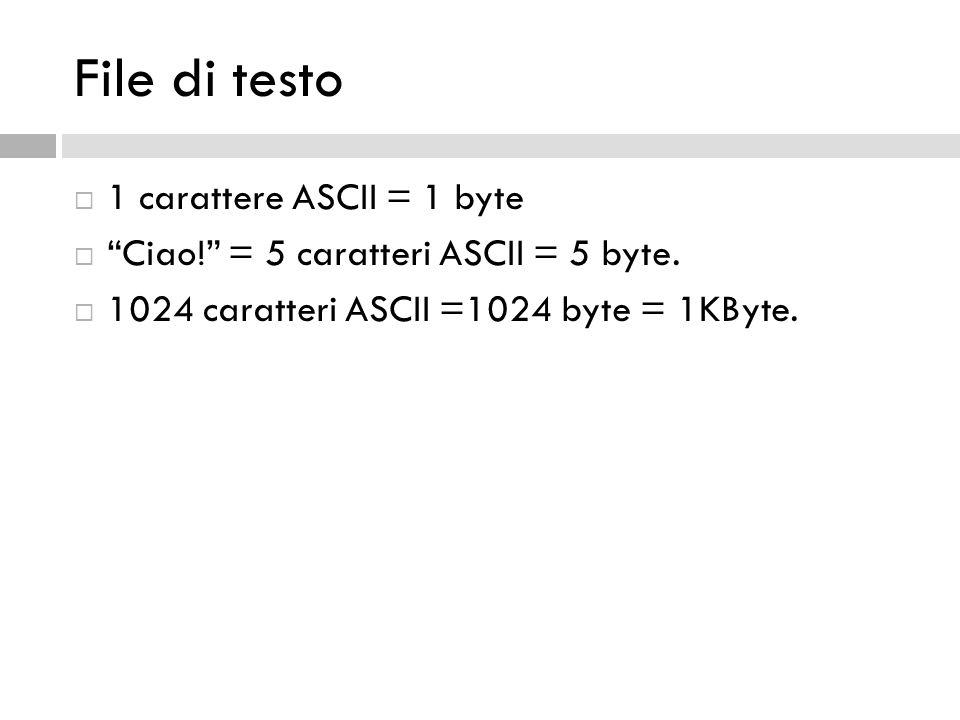 File di testo 1 carattere ASCII = 1 byte Ciao! = 5 caratteri ASCII = 5 byte. 1024 caratteri ASCII =1024 byte = 1KByte.