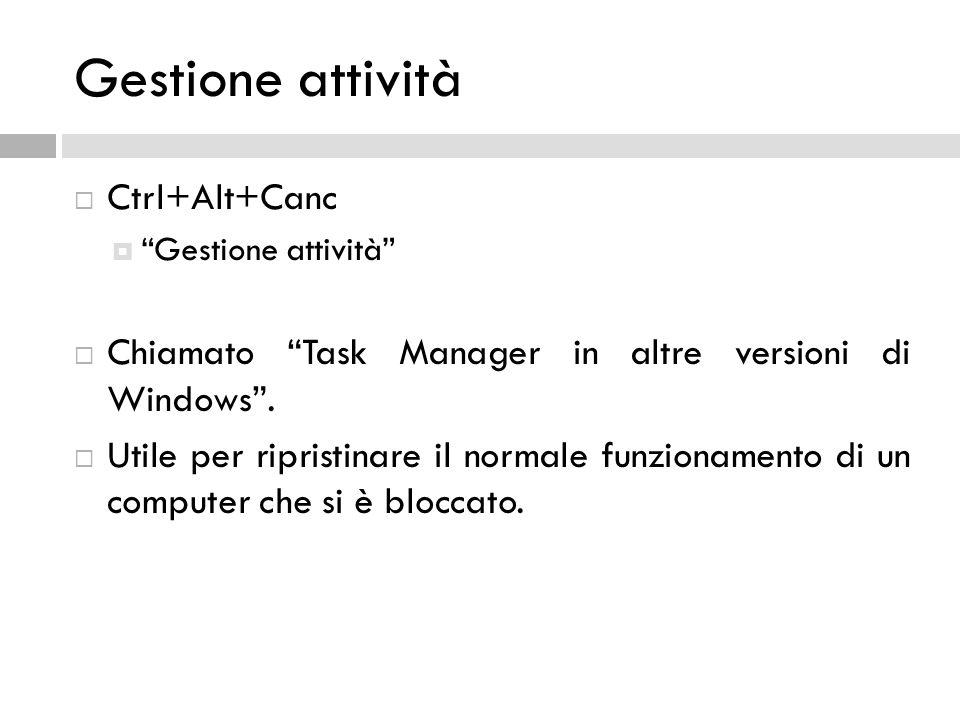 Gestione attività Ctrl+Alt+Canc Gestione attività Chiamato Task Manager in altre versioni di Windows. Utile per ripristinare il normale funzionamento