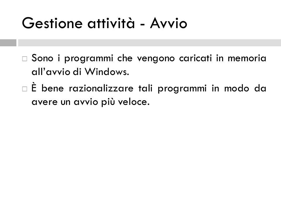 Gestione attività - Avvio Sono i programmi che vengono caricati in memoria allavvio di Windows. È bene razionalizzare tali programmi in modo da avere