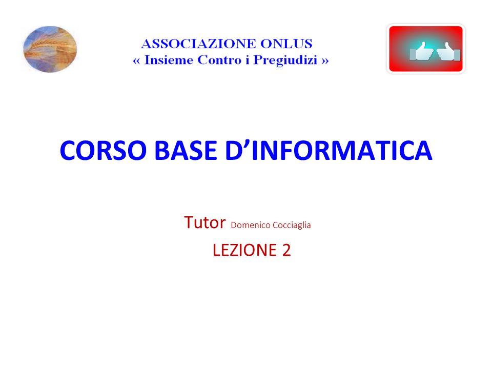 CORSO BASE DINFORMATICA Tutor Domenico Cocciaglia LEZIONE 2