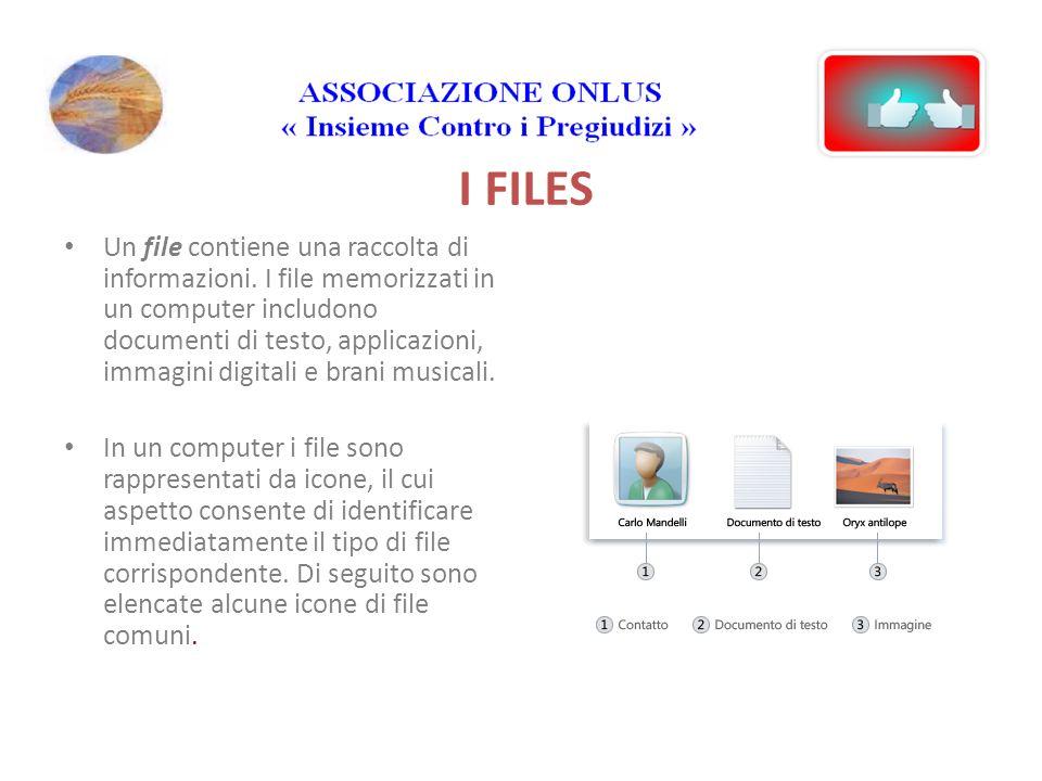 I FILES Un file contiene una raccolta di informazioni.